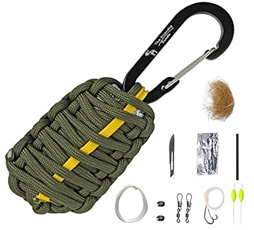 (The Friendly Swede Paracord-Survival-Kit - 11-teilig mit Karabiner und Messer (Armee-Grün mit gelber Linie))
