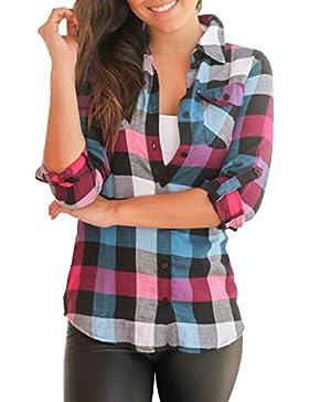 Thikin Camisa Mujer Cuadros Blus