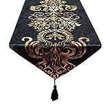 européenne Style baroque rétro glands chemin de table pour la décoration de fête de mariage, Tissu, Noir , 32x180cm