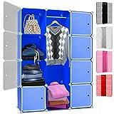 Kesser® DIY Kleiderschrank Schrank Steckregal ✓ Schuhschrank ✓ Regalsystem ✓ Garderobe | Belastbar | Größe: 12 Boxen / 600 Liter | Farbe: Blau