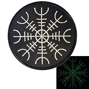 Glow Dark Aegishjalmr Viking Helm of Awe Terror Protection Rune Morale Tactical Velcro Écusson Patch