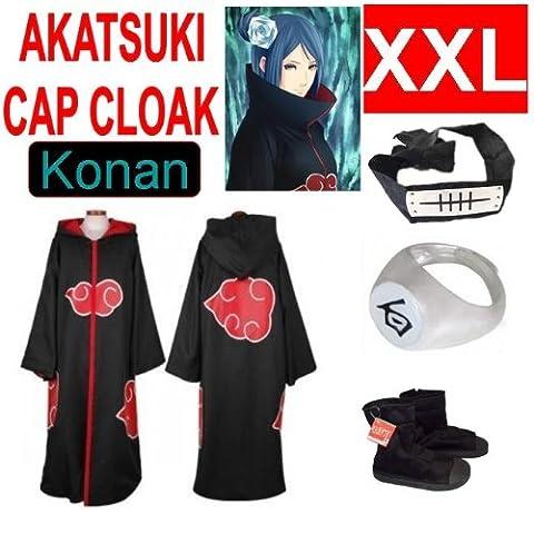 Günstige Naruto Cosplay Set für Konan - Akatsuki mantel (XXL) + Akatsuki Konan Kaku Ring(weiß)+ Konan Kopfband (schwarz) + Naruto Akatsuki (Konan Cosplay Set)
