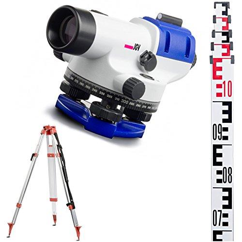 Nivelliergerät 24-fach SET mit Meßlatte Stativ Baustellennivelliergeräte 24 x Nivilliergerät Baunivelliergeräte Nivelierset Niveliergerät Messnivelliergerät 24 mit Teleskopmesslatte Nivellier Nivellierset