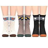 HighCool 3 Paar Damensocken Winter Socken Warme Baumwolle Damen Socken Stricken Pure Vintage Boden Socke Bett Socken EU (35~39) (Elefant)