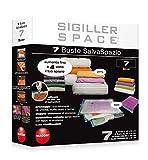 Macom Sigiller Space 805 7 Confezione 7 Buste Sottovuoto Salvaspazio per Indumenti (2 XXL - 2 XL - 2 L - 1 Travel)