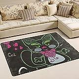 Alaza Super rutschhemmender Katze mit Schmetterling Augen Bereich Teppiche/Boden Matte/Bezug Teppiche mit kleine Menge Speicher Schaumstoff für Wohnzimmer/Schlafzimmer/Esszimmer/Kinder/Home Dekorieren 3x 2Füße, multi, 3 x 2 Feet