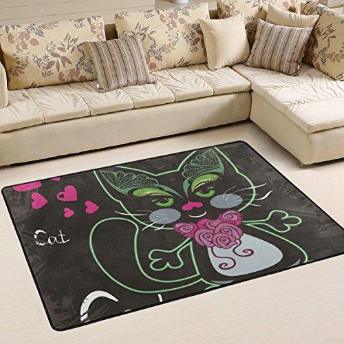 Alaza Super rutschhemmender Katze mit Schmetterling Augen Bereich Teppiche/Boden Matte/Bezug Teppiche mit kleine Menge Speicher Schaumstoff für Wohnzimmer/Schlafzimmer/Esszimmer/Kinder/Home Dekorieren 3x 2Füße, multi, 6 x 4 Feet