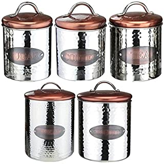Apollo Housewares Tea Coffee Sugar Biscuit Bread Canister Kitchen Storage Set