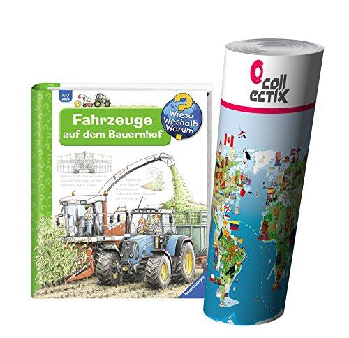 Ravensburger Kinder Sachbuch Wieso? Weshalb? Warum? | Fahrzeuge auf dem Bauernhof + Kinder Tier Weltkarte Poster by Collectix