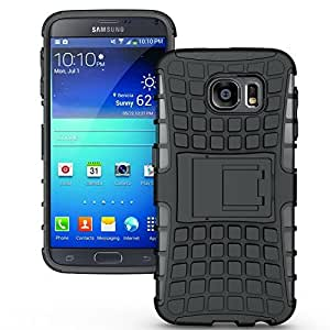 Cubix Defender Series Dual Layer Hybrid TPU + PC Kickstand Case Cover for Samsung Galaxy S6 (Black)