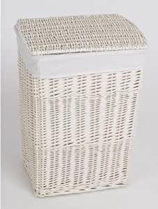White Wicker Laundry Basket H65cm Lined