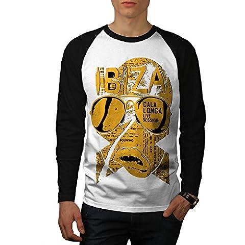 Ibiza Vivre Sessions La musique Homme NOUVEAU Blanc avec manches noires S Base-ball manche longue T-shirt | Wellcoda