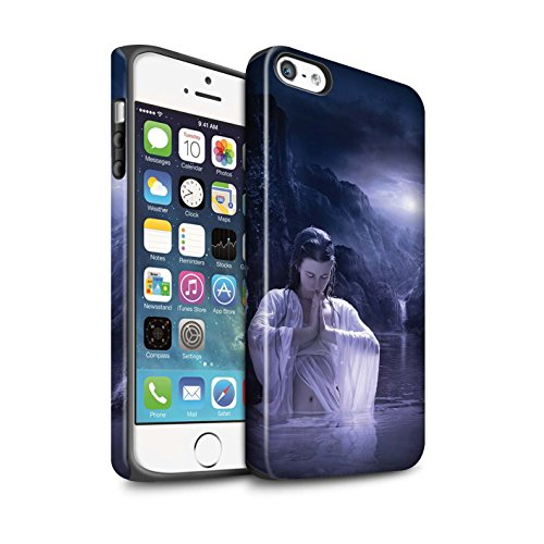 Officiel Elena Dudina Coque / Matte Robuste Antichoc Etui pour Apple iPhone 5/5S / Fille de Lune Design / Un avec la Nature Collection Lagune À la Nuit