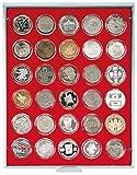 Velourseinlage, hellrot, mit 30 Runden Vertiefungen für Münzkapseln mit Außen-Ø39,5 mm, z.B. für deutsche 20 Euro-/10 Euro-Silbermünzen in LINDNER Münzkapseln