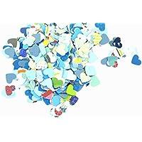 Confettis - scrapbooking paper - mix paper - Confetti en forme de coeur - 18 g - bleu couleur (fait à la main).