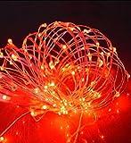 ✽ZEZKT-Home✽ 10M 100 LEDs Kupferdraht LED Kupfer Lichterkette, Wasserdicht Sternen Lichterketten Innen und Außen Fest Dekoration Warmweiß (Rot)