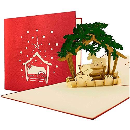 3D Weihnachtskarte Pop Up mit Umschlag, Gutschein, Geschenk, edel, christlich, hochwertig, ()