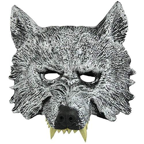 RXBC2011 Kopf-Maske für Cosplay Wolf Halloween grau zu -