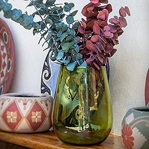 Glasmanufaktur Mitienda, Vase Deko Grün, Blumenvase 24cm, Mundgeblasene Vase Aus Mexiko, Tischvase für Wohnzimmer Büro
