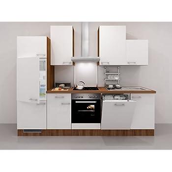 Küchenzeile 280 cm Weiß Nussbaum mit Geräten & Geschirrspüler - Como ...