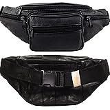 Bauchtasche schwarz Leder Herren & Damen - Weiche schwarz Leder Gürteltasche - Black Leather Waist Bag- Schwarz Leder Hüfttasche nutzen als auch Umhängtasche für Reise.