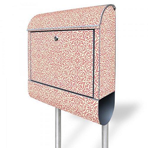 Arabesque Antike (banjado - Briefkasten Stahl 38,5x158,5x12cm Standbriefkasten mit silbernen Standfuß und Motiv Rosa Arabesque)