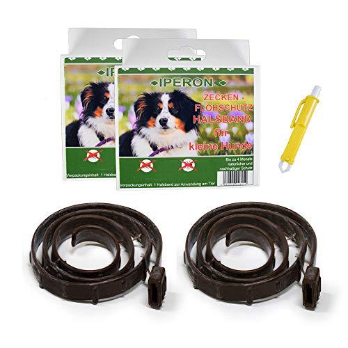Lyra Pet 2 x Iperon Bio Flohhalsband klein 60 cm Zeckenschutz Hund + Zeckenzange