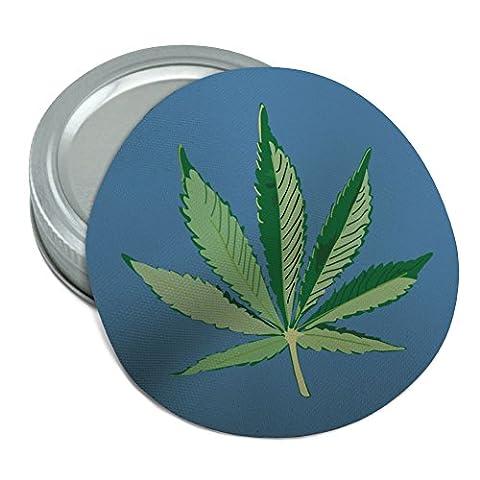 Feuille de pot de Marijuana Weed Bud de Vert Mary Jane sur bleu rond en caoutchouc antidérapant Pot Gripper Couvercle Opener