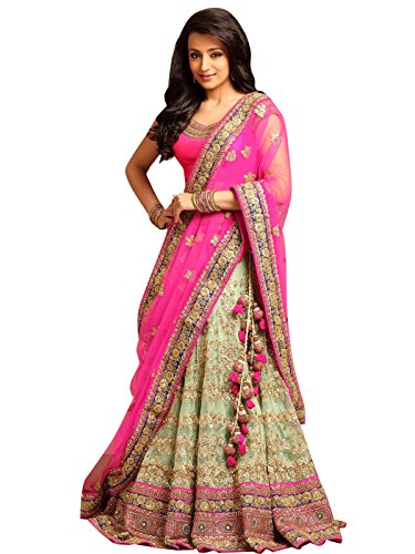 Salwar Style Woman\'s Embroidered Semi Stitched Lehenga Choli(Pink_Free Size_2175)