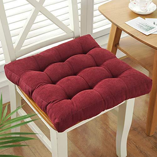 JiaQi Addensare Quadrata Chair Cushions,Lo Schienale Trapuntato Tenere in Caldo Seat Pad Non-Slip Cotone Soft Cuscino per Sedia,per Auto Ufficio Home-Vino Rosso 40x40cm(16x16inch)
