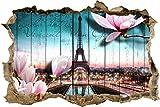 wandmotiv24 3D-Wandsticker Holz Blüten Paris Eiffelturm Aufkleber Mauerdurchbruch M0543 Design 01 - klein