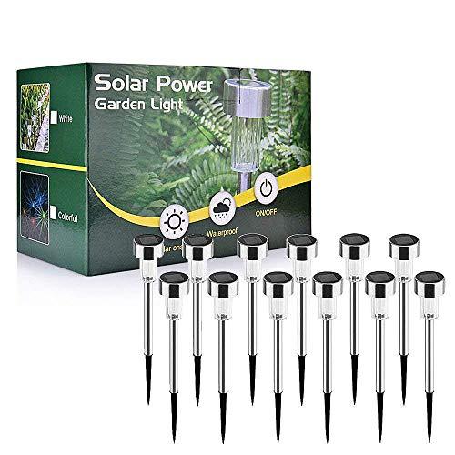 Weyty Solar Gartenleuchte, Solarleuchten Außenleuchte aus Edelstahl,Energie Sparende LED Solarlampe für Außen, IP65 wasserdichte,Ideal für Terrasse, Rasen, Garten und Wege,38 cm Hoch-12er Set