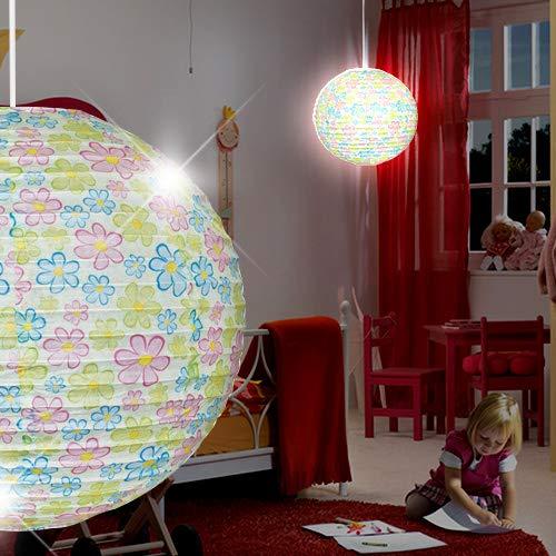MIA Light Papier Kugel Hänge Leuchte Ø400mm/ Kinder/ Bunt/ Pendel Lampe Blume Hängelampe Hängeleuchte Kinderlampe Kinderleuchte Kinderzimmer Kinderzimmerbeleuchtung Kinderzimmerlampe Kinderzimmerleuchte Papierkugel Papierlampe Papierleuchte Pendellampe Pendelleucht