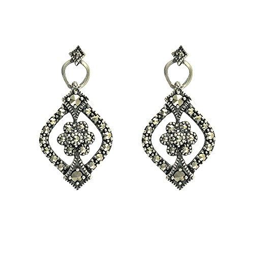 Esse Ring Markasit Sterling Silber Art Nouveau Pavé-Set Ohrringe Markasit