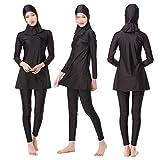 Swallowuk Damen Muslim Abaya Dubai Muslimische Islamische Burkini Badeanzug Bademode Badebekleidung Schwimmanzug Swimsuit Lange Ärmel Arabische Indien Türkische Kleidung (M, Schwarz)