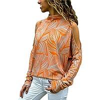 Yvelands Moda para Mujer Frío Hombro Blusa Estampado Floral Floral Jumper Top para Mujer