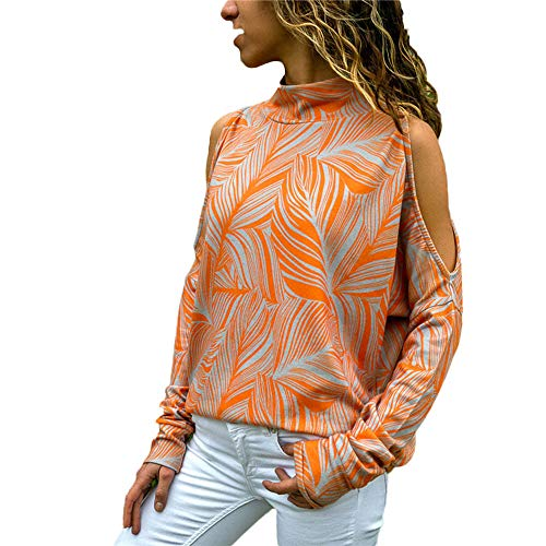 TWIFER Damen Mode Kalte Schulter Bluse Geometrischer Blumendruck Off Shoulder ()