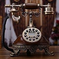 Motesuvar Antigüedades Europeas, Teléfono Fijo, Teléfono De Casa Estilo Americano Retro, Moda Moda, Máquina De Línea Fija,Cable De Cuero Versión Manos Libres Retroiluminado