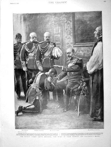 Duc 1901 du Roi le Conseil Privé York Connaught Liverpool par original old antique victorian print