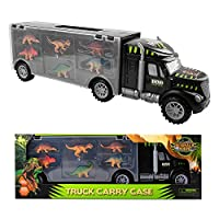 m zimoon Dinosaur Transport Carrier Truck Toy with 6pcs Mini Car Transporter Dinasaurs Educational Toys for Kids Boys Girls