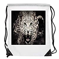 Bunny Organization Outstanding Classic Cheetah Close Up Facial HD Black & White Full Body Background Mammal Animal Lovers Drawstring Folding Gym Bag Perfect for PE School Work Travel Sports