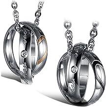 """Flongo Collares para parejas, Colgantes de anillos negros oro rosa, """"Tu completas mi corazón"""" collares de amor, Buen regalo de San Valentín, Un par"""
