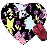 Tapis de Souris en Forme de cœur Tapis de Souris Vector Kawaii du Caractère Halloween Chats et créatures