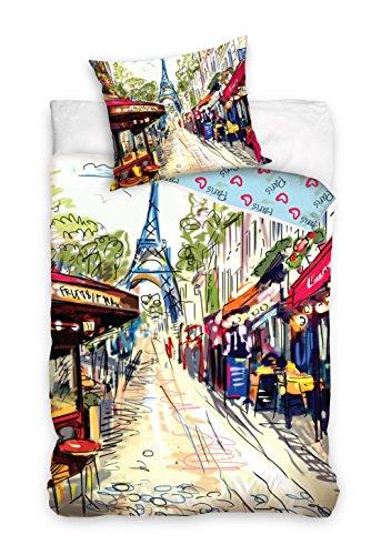 Paris Eiffelturm Bettwäsche Bettbezug 160x 200+ Kissenbezug 70x 80Dekoidee 100% Baumwolle, Neuheit Collection Bild Pariser Paris Eiffelturm Bettwäsche