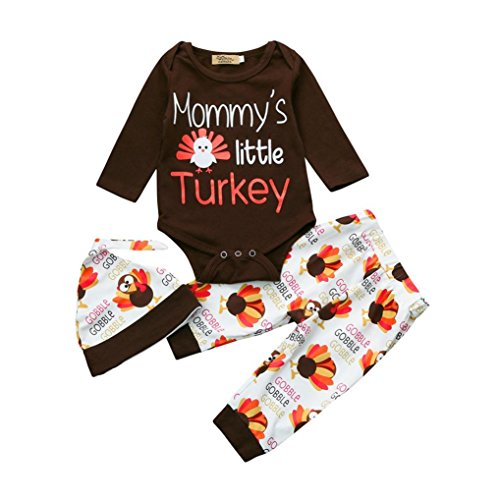 ugeborenen Baby Mädchen Brief Strampler Tops + Hosen + Hut Thanksgiving Outfits Set (6M, Braun) (Thanksgiving Outfit Baby)