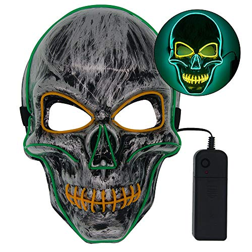 LARRY-X Halloween-Skelett-Maske, leuchtet gruselig Grimace Cosplay Masken für Halloween Rave Party Glow Maske, Kostüm (Skelett Kostüm Haar)