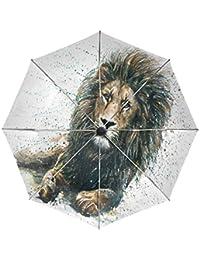 Wamika Paraguas de Viaje con Pintura al óleo de león automático, Resistente al Viento,