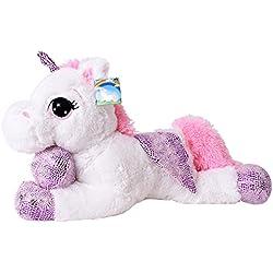 te-trend Caballo de peluche unicornio unicornio tendida 60cm fucsia o blanco con púrpura aplicaciones y ala - blanco