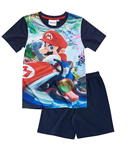 Marine-blau Pyjama (Super Mario Bros. Shorty Pyjama, blau, Gr. 104-152 Größe 116)