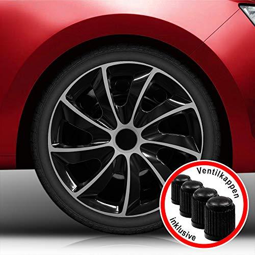 (Farbe & Größe wählbar) 13 Zoll Radkappen, Radzierblenden Quad Bicolor (Schwarz/Silber) passend für fast alle Fahrzeugtypen (universal)